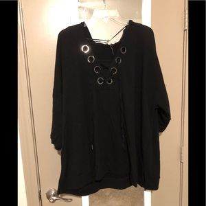 Tops - Black top with lace up holes